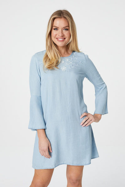 Embroidered Smock Dress - Izabel London