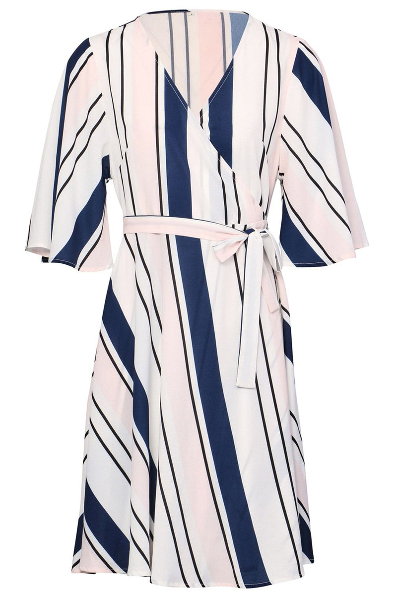 Pink | Striped Wrap Dress