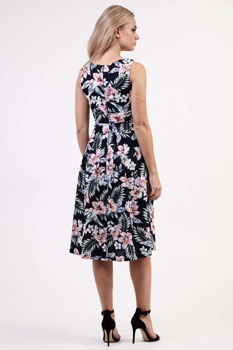 Black | Floral Sweetheart Midi Dress