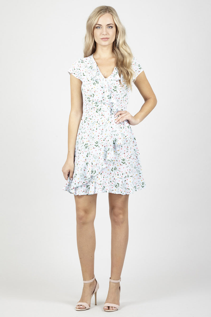 Green | Ditsy Floral Wrap Dress | Izabel London