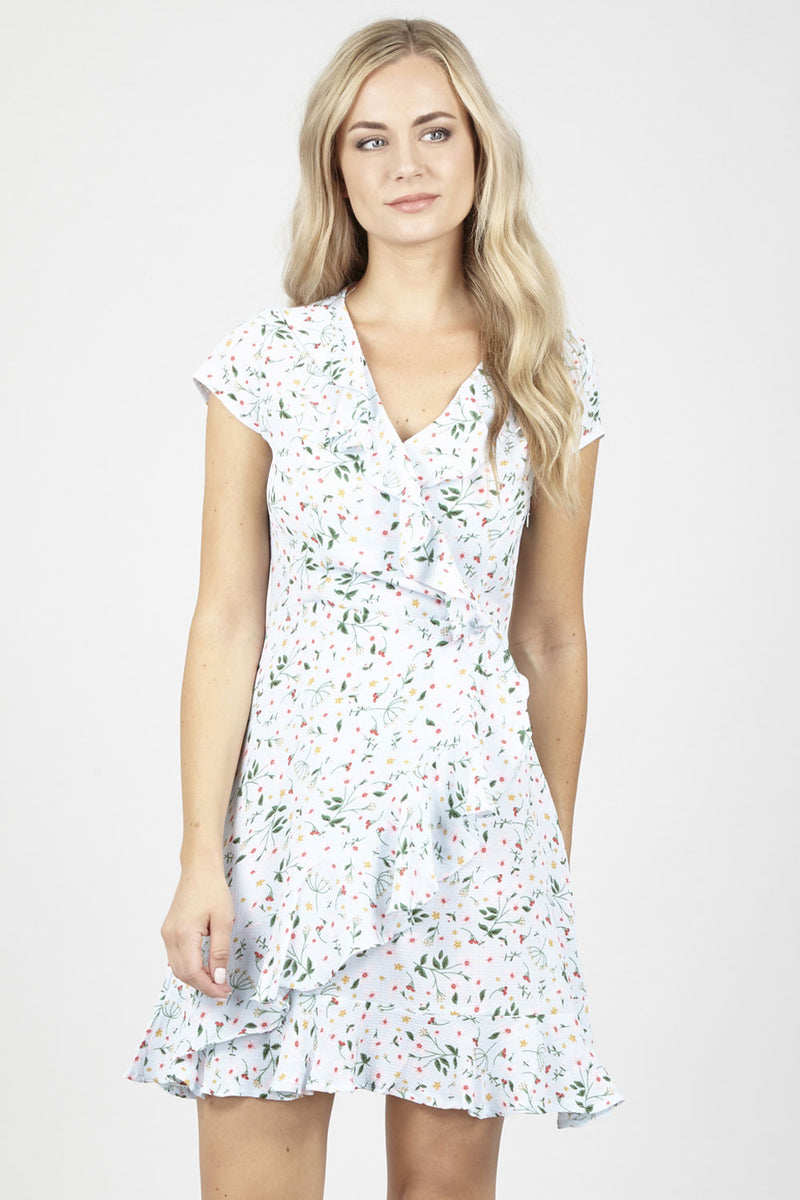 Green | Ditsy Floral Wrap Dress