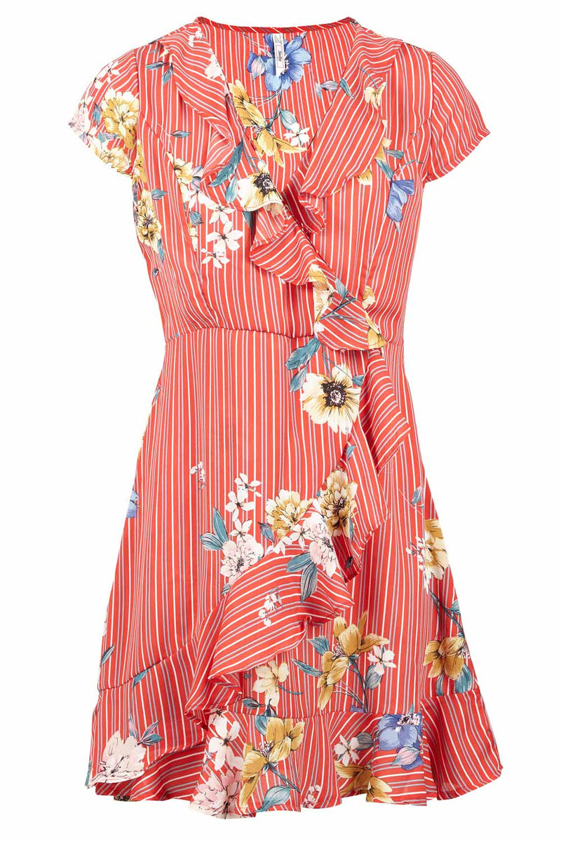 | Floral & Stripe Ruffle Wrap Dress | Izabel London