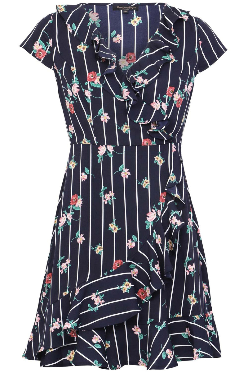 Floral & Stripe Wrap Dress - Izabel London