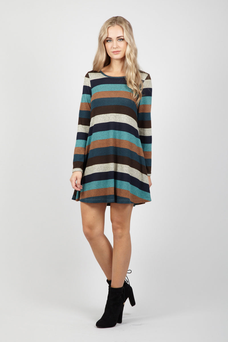 2775a9009ed1 Striped Knit Swing Dress - Izabel London