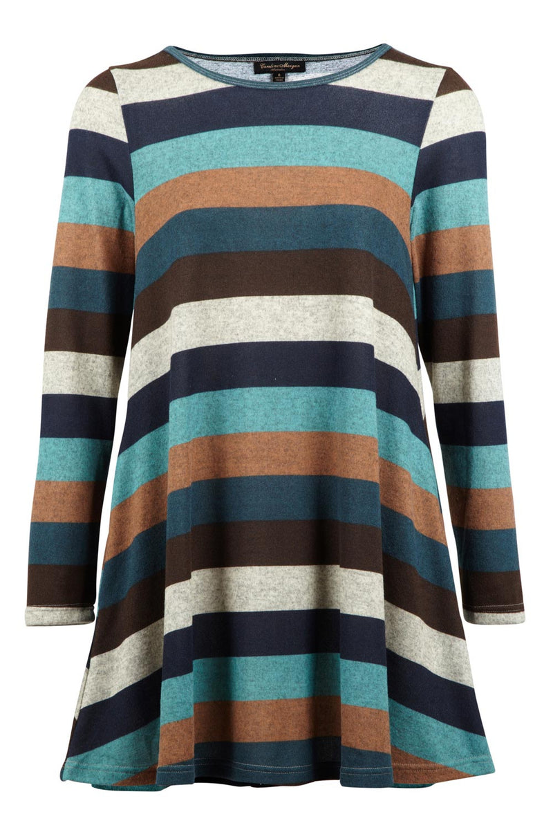 Striped Knit Swing Dress - Izabel London
