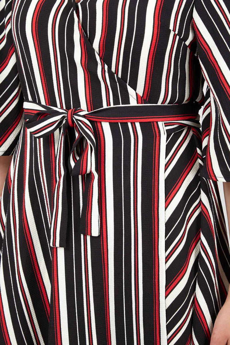 Striped Wrap Dress - Izabel London
