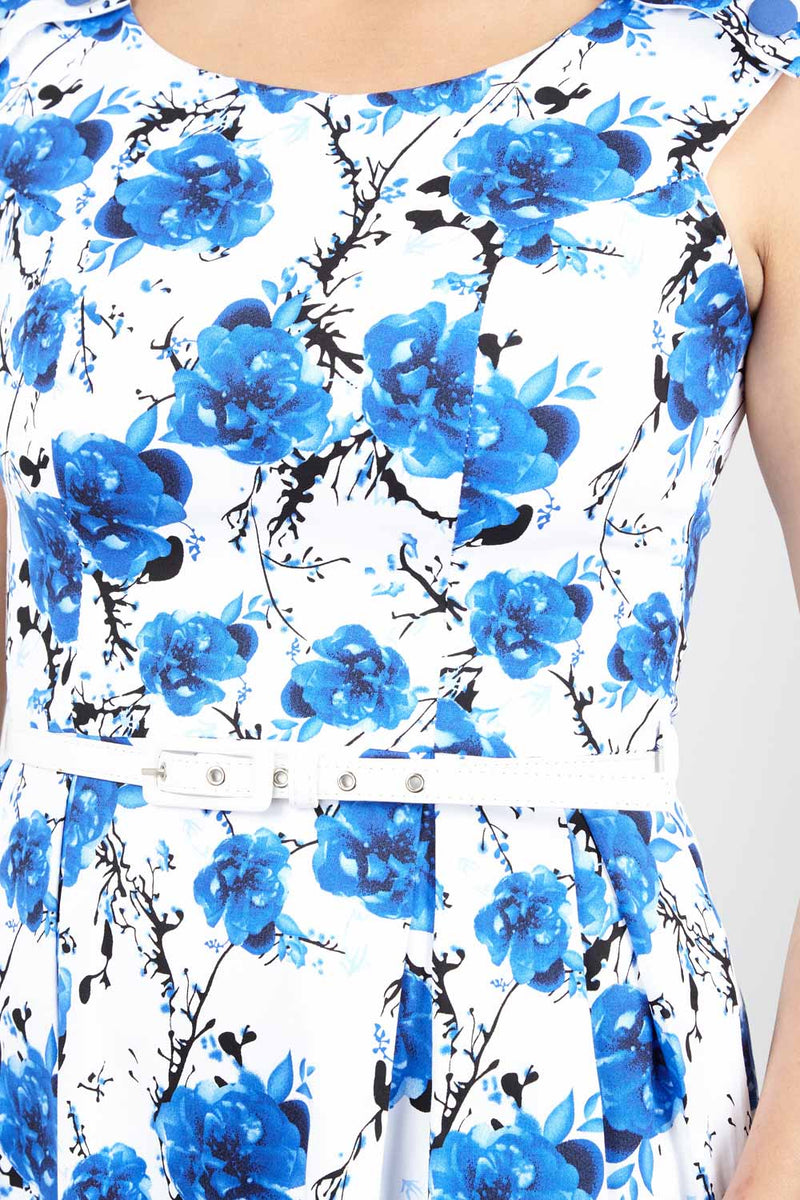 Blue | Floral Fit & Flare Dress