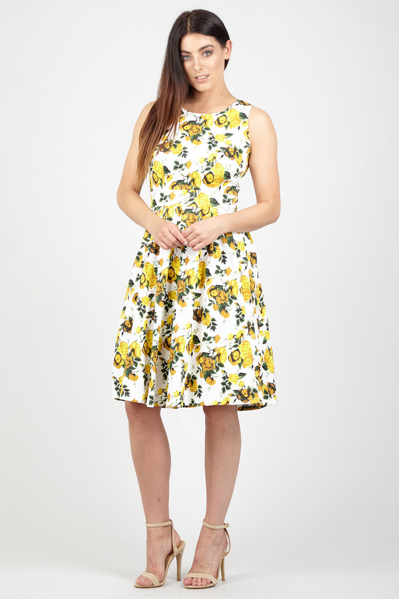 Mustard | Floral Square Neck Dress