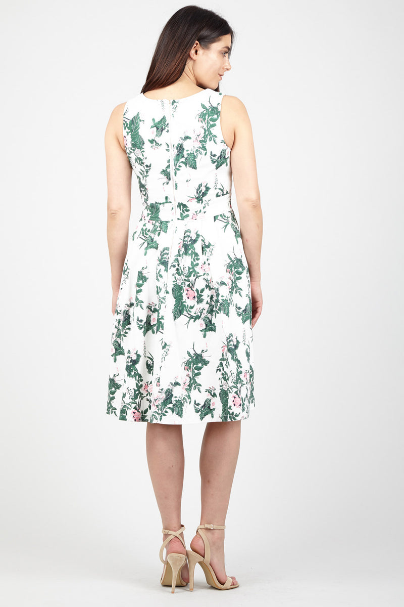Green | Floral Square Neck Midi Dress