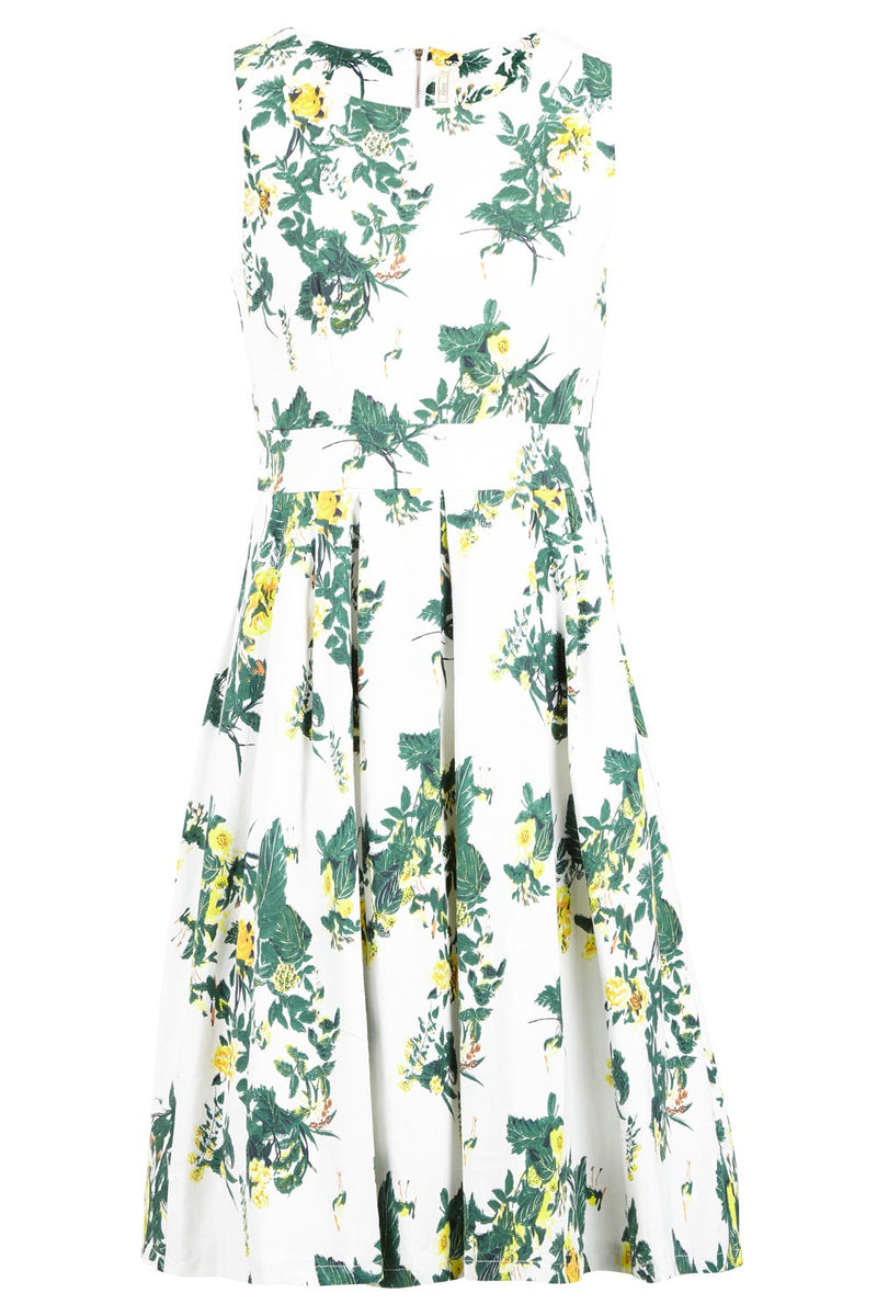 Yellow | Floral Square Neck Midi Dress
