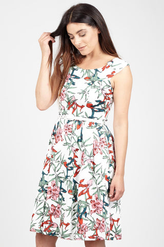 Feather Print Skater Dress