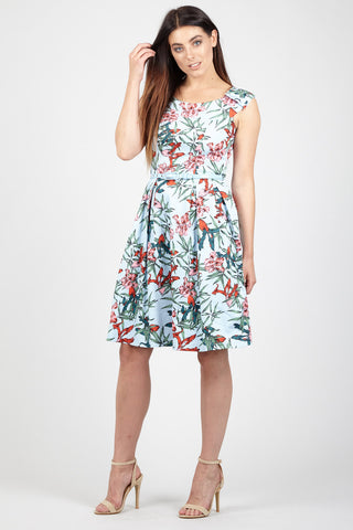 Floral Yoke Tea Dress