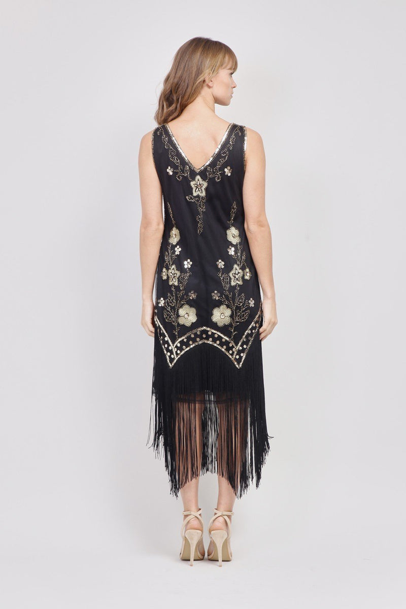 Gold | Floral & Sequin Flapper Dress