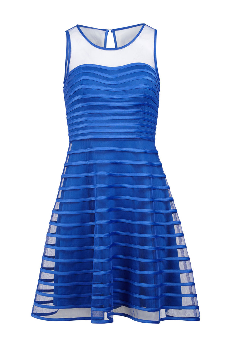 Mesh Stripe Skater Dress - Izabel London