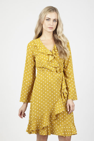 Polka Dot Wrap Dress - Izabel London