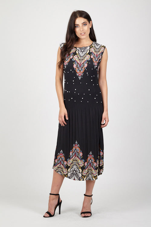 Eastern Pearl Midi Dress - Izabel London