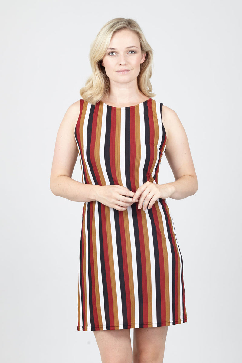 Red | Striped Shift Dress