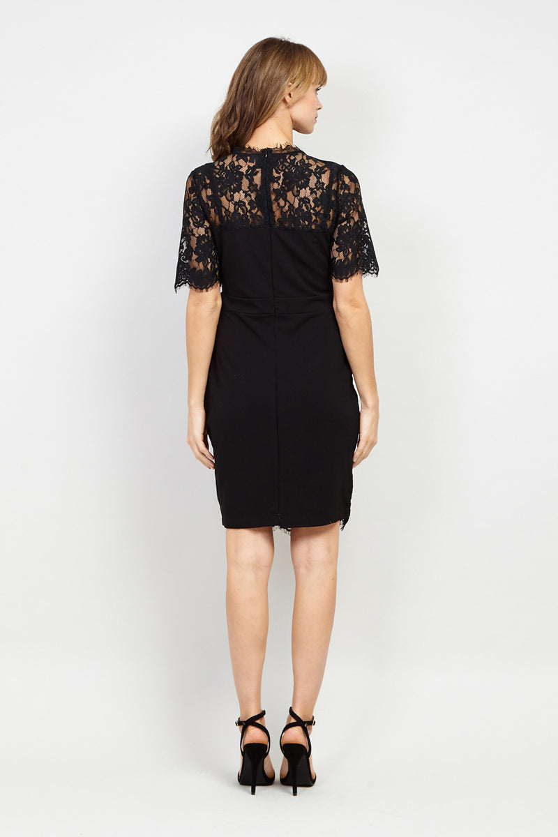 Black | Lace Panel Bodycon Dress