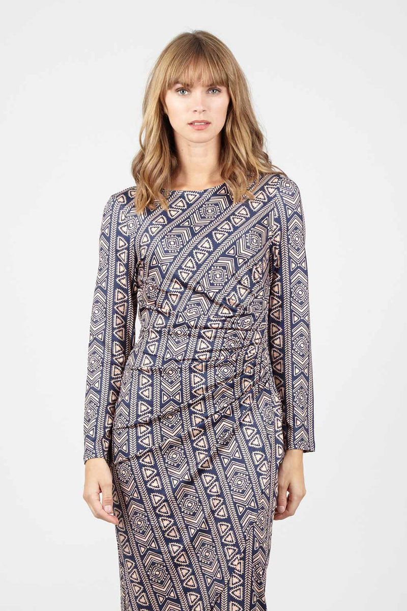 Navy | Aztec Ruched Bodycon Dress