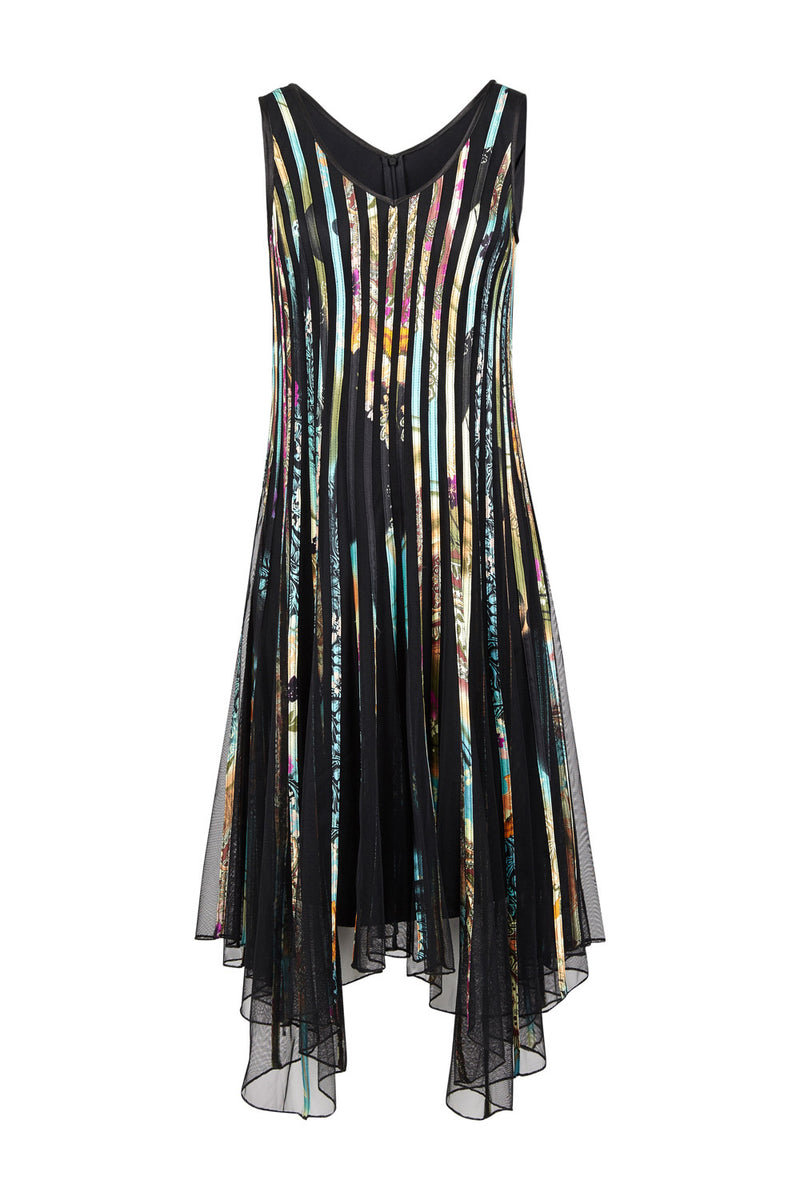 Stripe Mesh Overlay Dress - Izabel London