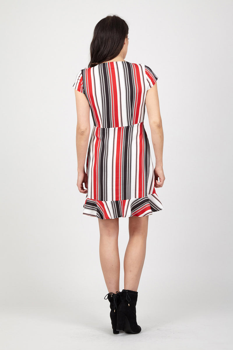 Red | Striped Wrap Dress
