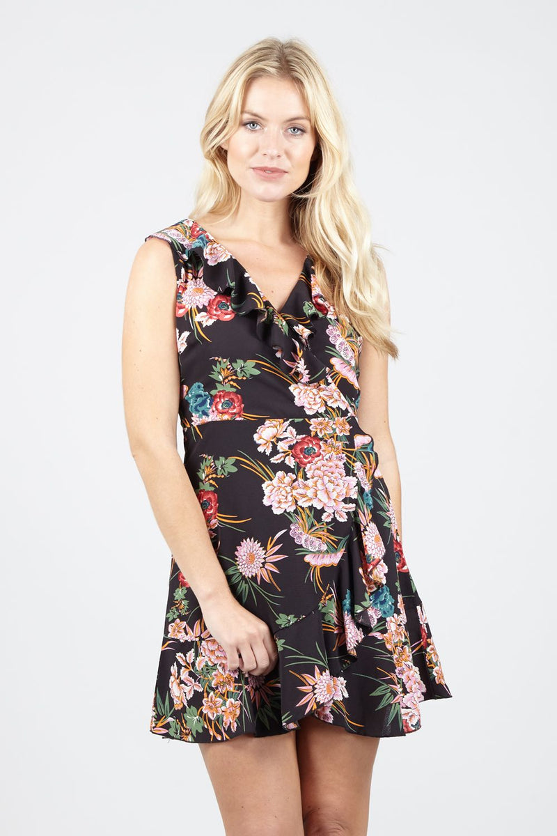 Black | Floral Wrap Mini Dress