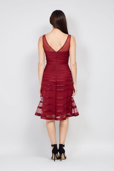 Red | Striped Mesh Fit & Flare Dress