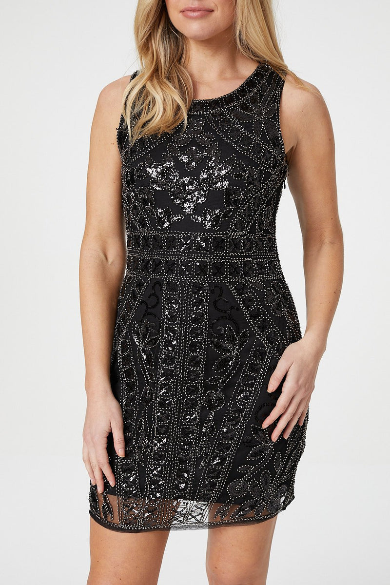 Black | Sequin Overlay Bodycon Dress