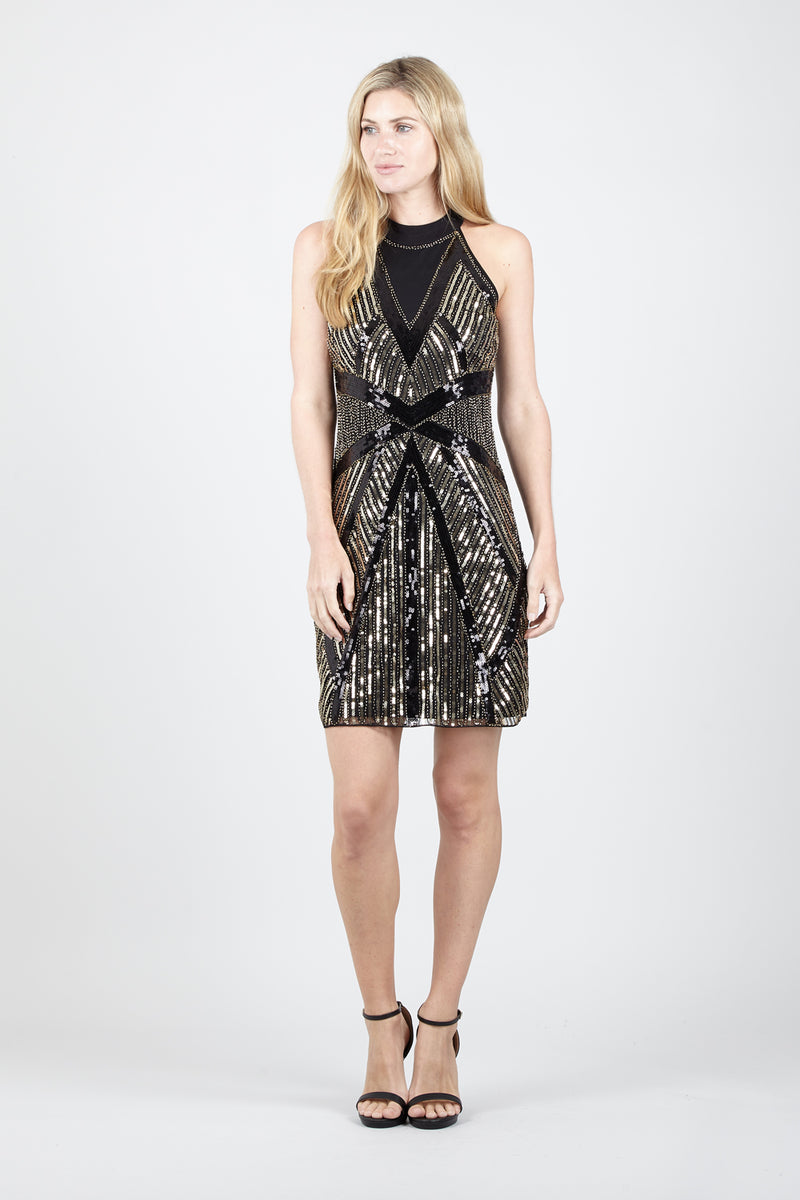 High Neck Sequin Dress - Izabel London