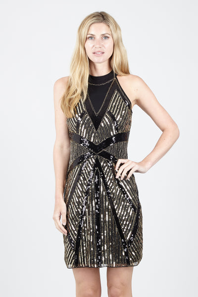 Black | High Neck Sequin Dress