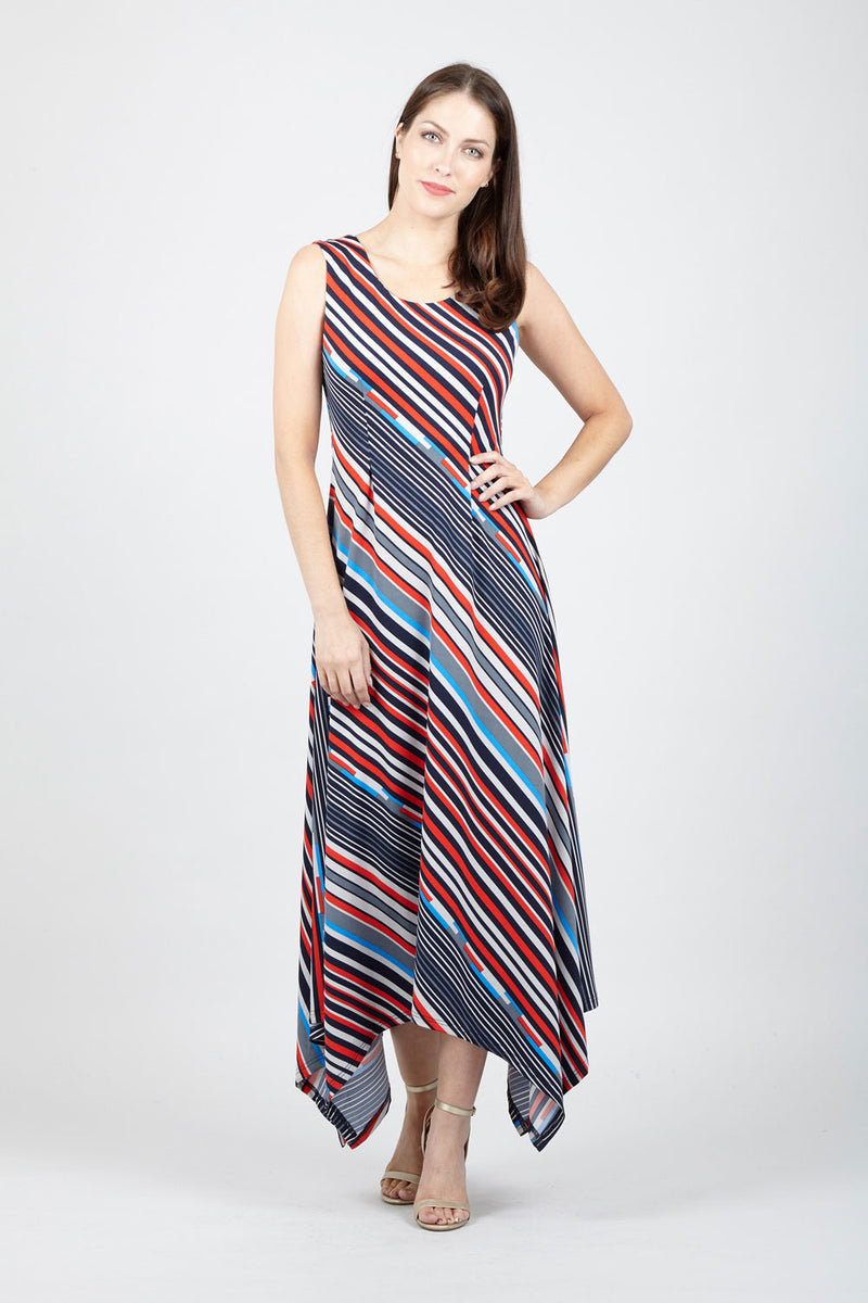 Striped Hanky Hem Maxi Dress - Izabel London