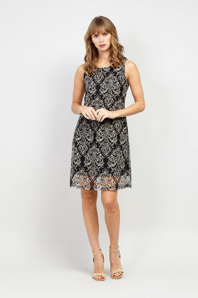 Black | Damask Print Shift Dress