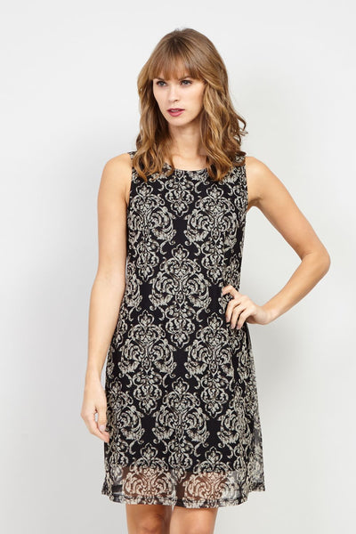 Damask Print Shift Dress - Izabel London