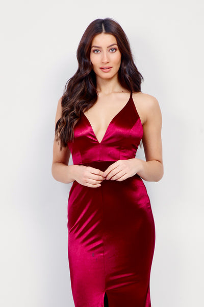 Satin Plunge Mermaid Gown - Izabel London