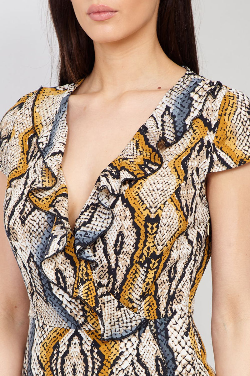 Yellow | Snake Print Wrap Dress