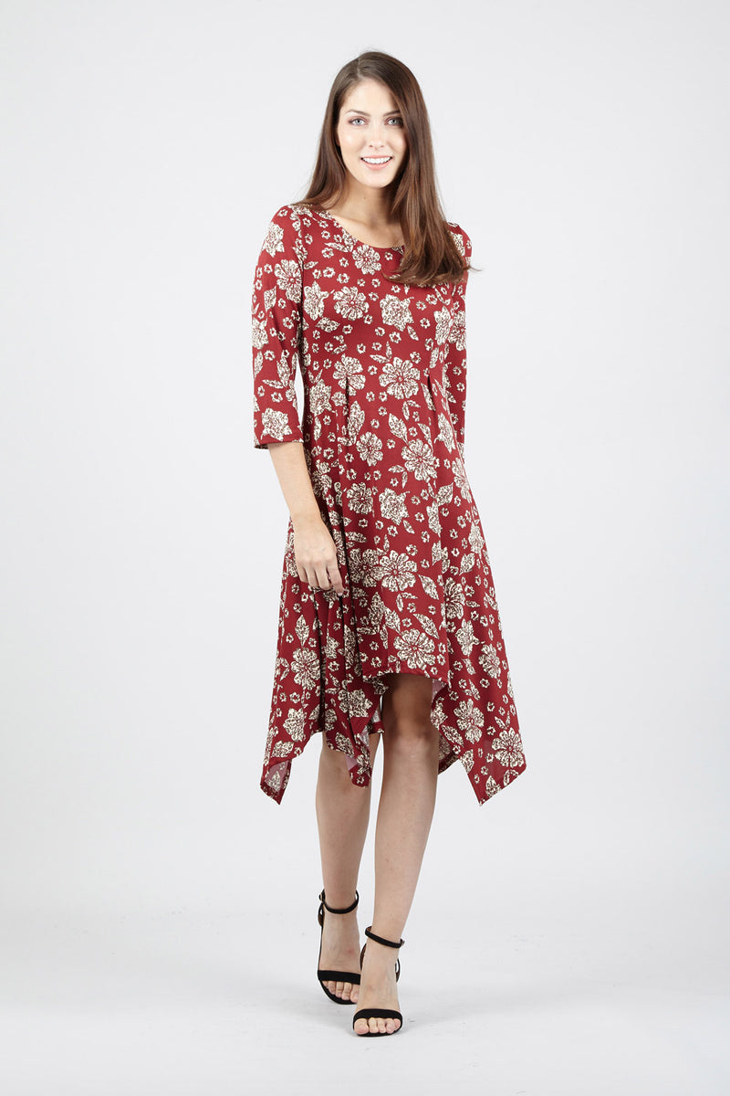 Red | Floral Hanky Hem Dress