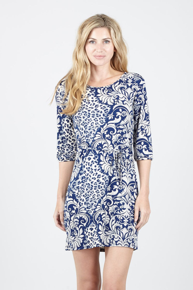 Blue | Animal Print And Paisley Shift Dress