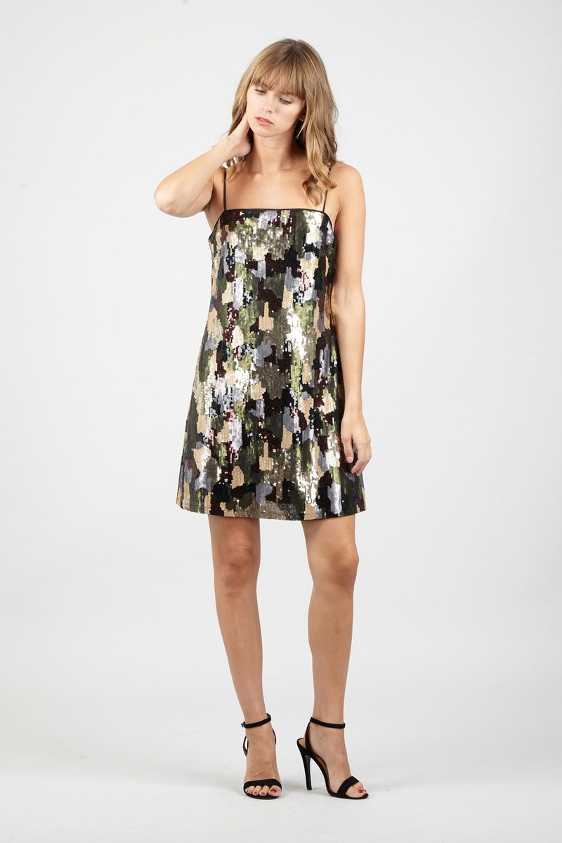 Camo Sequin Mini Dress - Izabel London