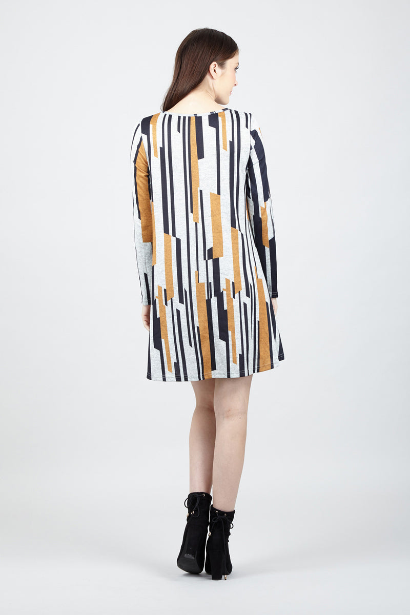 Striped Swing Dress - Izabel London