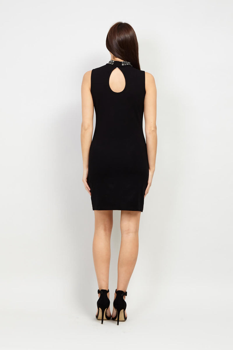 Black | Chevron Embellished Bodycon Dress