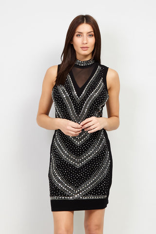 High Neck Sequin Dress