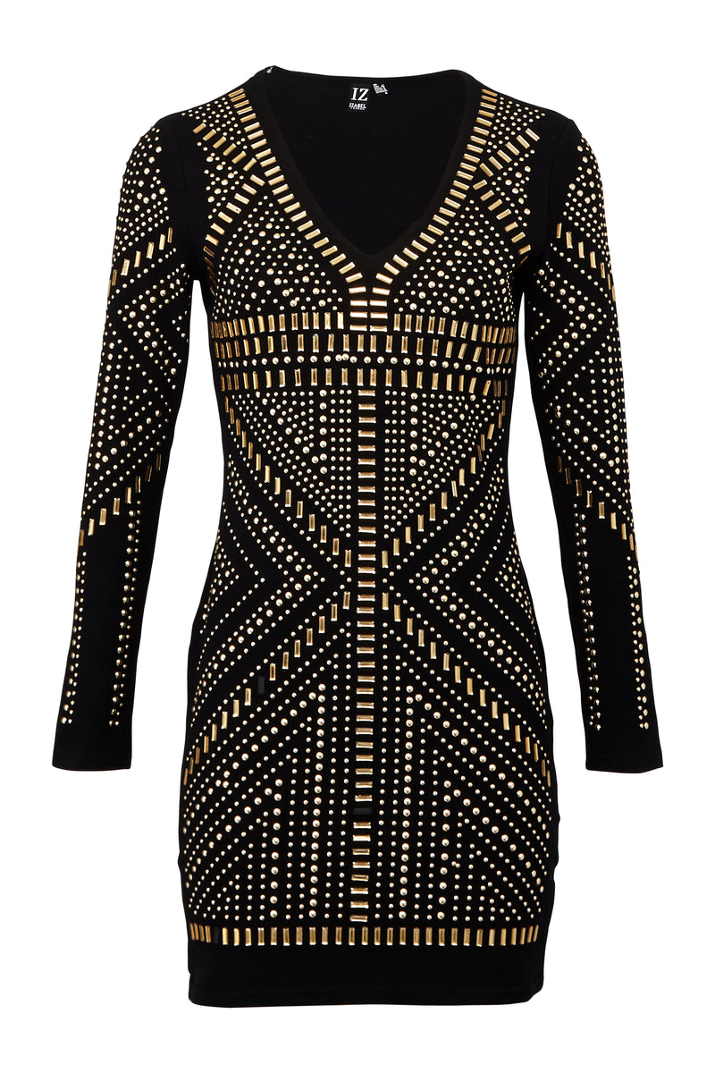Embellished Long Sleeve Bodycon Dress - Izabel London