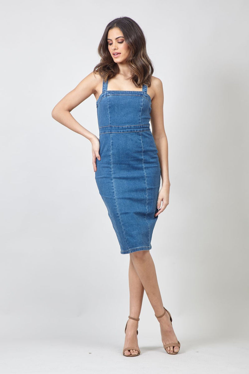 Blue | Denim Pinafore Dress With Zip Back