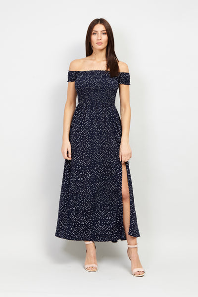 Navy | Polka Dot Bardot Maxi Dress | Izabel London