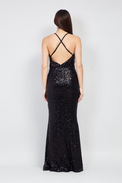 Black | Sequin Split Front Gown