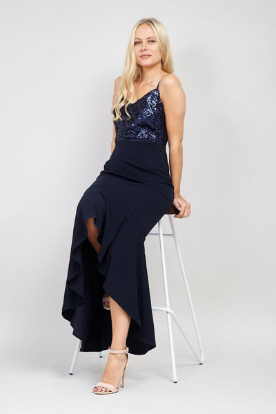 Navy | Sequin High Low Dress