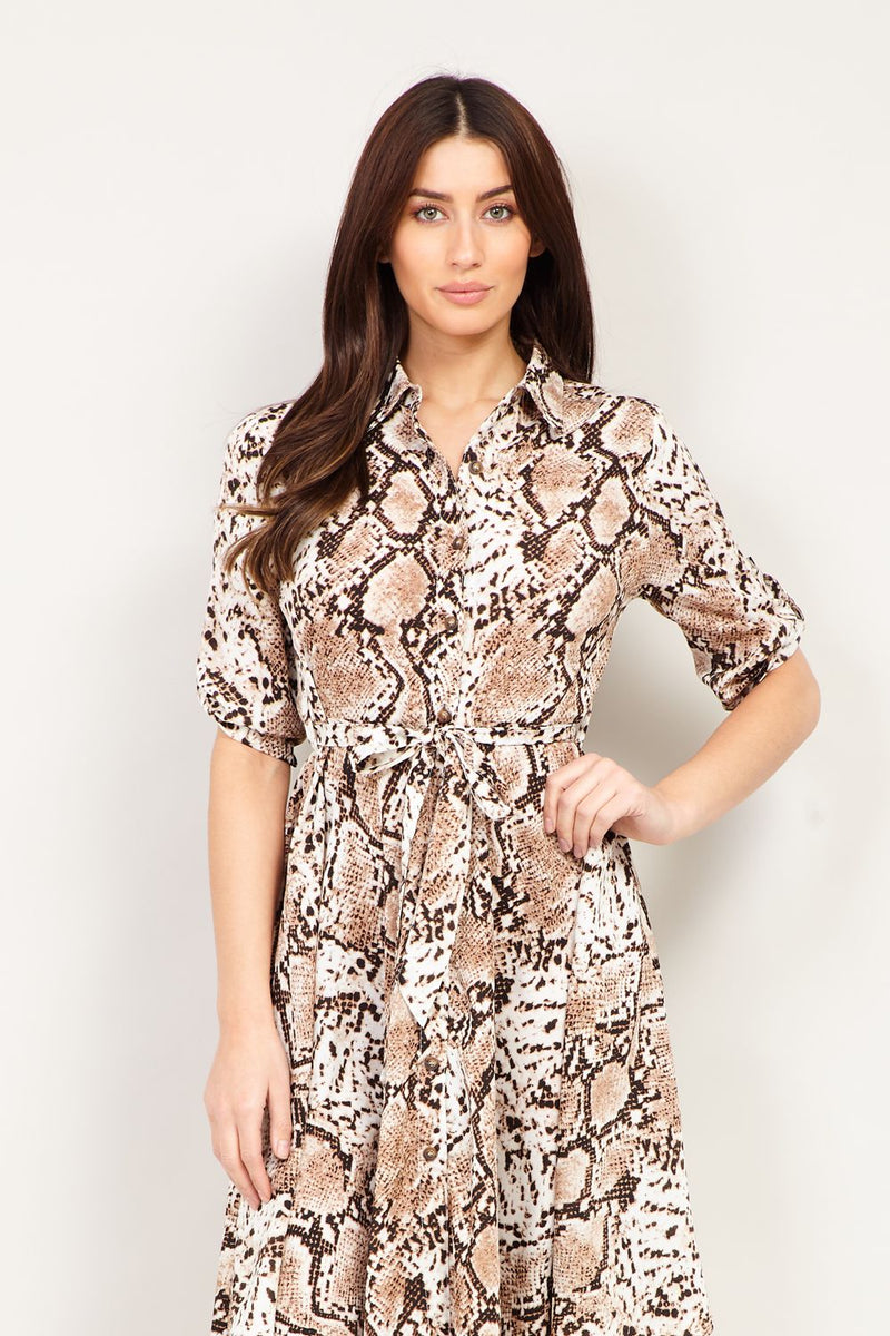 Beige | Snake Print Shirt Dress
