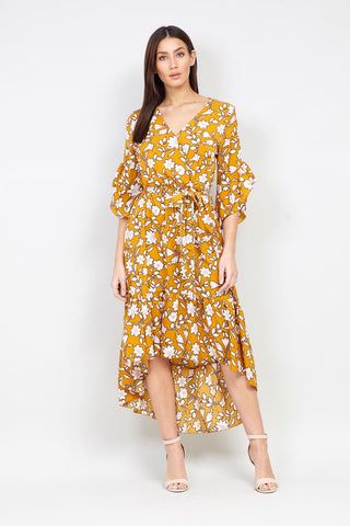 Floral & Stripe Ruffle Wrap Dress