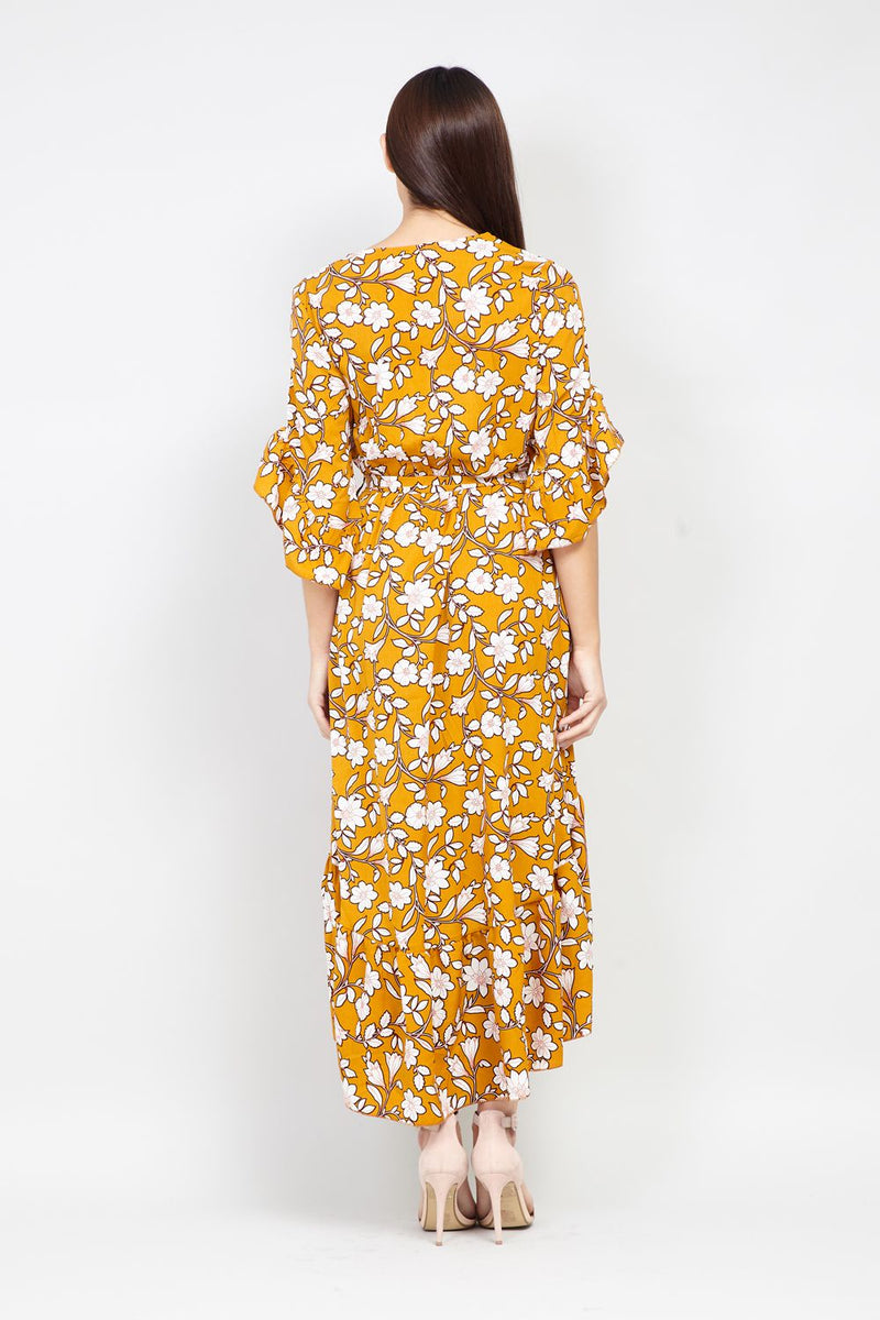 Yellow | Spring Floral Wrap Dress