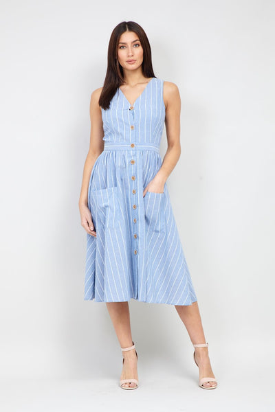 Striped Button Front Dress - Izabel London
